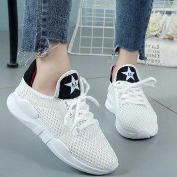 Breathable Letter Printed Sport Shoes - SNOW WHITE SNOW WHITE