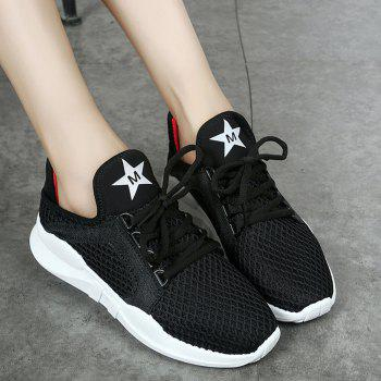 Breathable Letter Printed Sport Shoes - BLACK BLACK