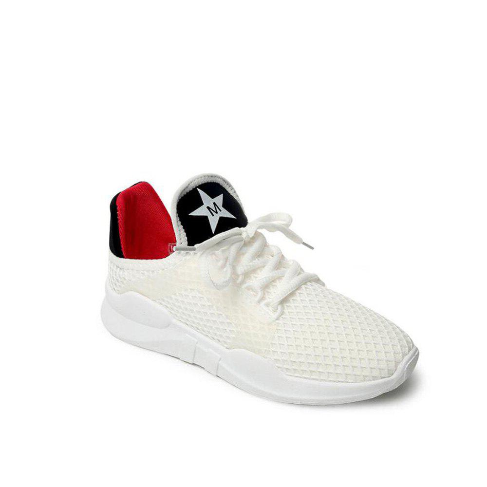 Breathable Letter Printed Sport Shoes - SNOW WHITE 38