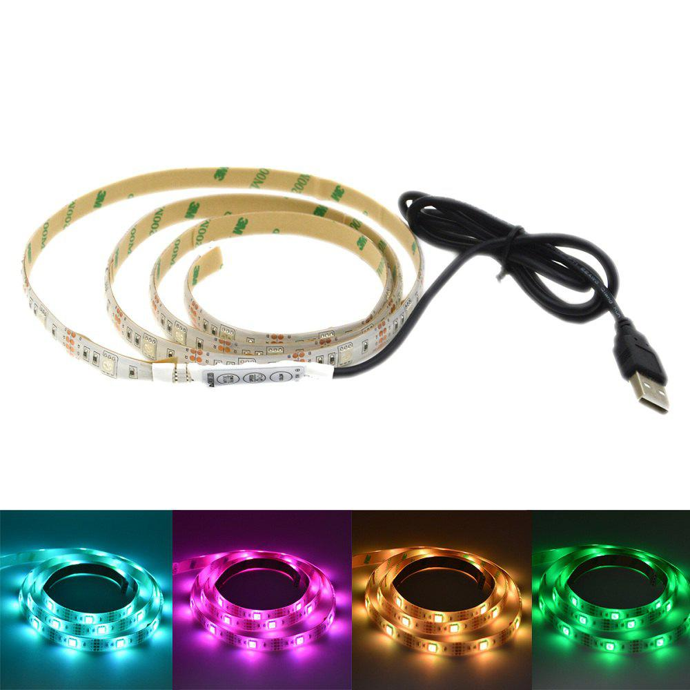 USB Powered 1M 5050 RGB 30 LEDs Strip Light for Background Decor with 44 Key Remote Control - BLACK WHITE