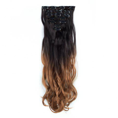 TODO 24inch Curly Ombre Style 7-Piece 16-Clip Hair Extensions - 3 24INCH