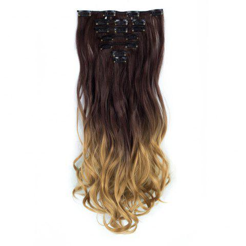 TODO 24inch Curly Ombre Style 7-Piece 16-Clip Hair Extensions - 4 24INCH