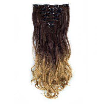 TODO 24inch Curly Ombre Style 7-Piece 16-Clip Hair Extensions - #4