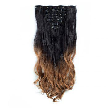 TODO 24inch Curly Ombre Style 7-Piece 16-Clip Hair Extensions - #8