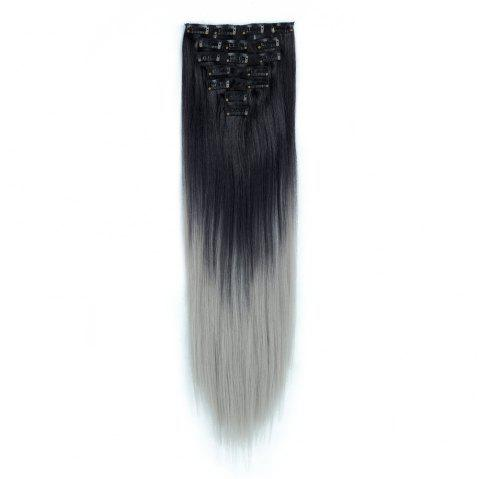 TODO Straight Ombre 7-Piece 16-Clip Clip-in Hair Extensions - 1 22INCH