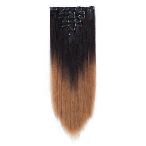 TODO Straight Ombre 7-Piece 16-Clip Clip-in Hair Extensions - 4 22INCH