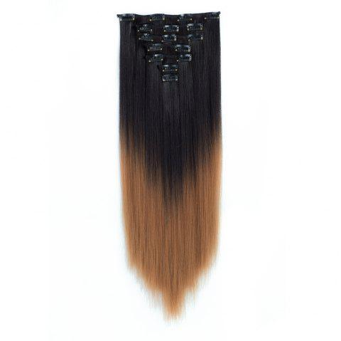 TODO Straight Ombre 7-Piece 16-Clip Clip-in Hair Extensions - 8 22INCH