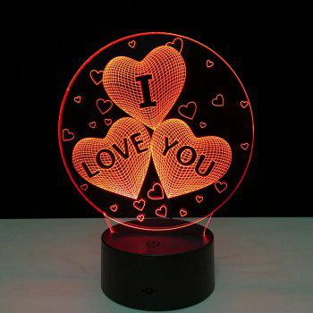 Yeduo Acrylic 7 Color Changing Usb Charge 3D Heart I Love You Led Night Light with 3D Luminous Decor Table Lamp Nightlight - COLORMIX COLORMIX