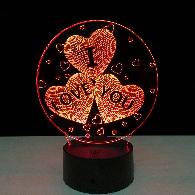 Yeduo Acrylic 7 Color Changing Usb Charge 3D Heart I Love You Led Night Light with 3D Luminous Decor Table Lamp Nightlight - COLORMIX