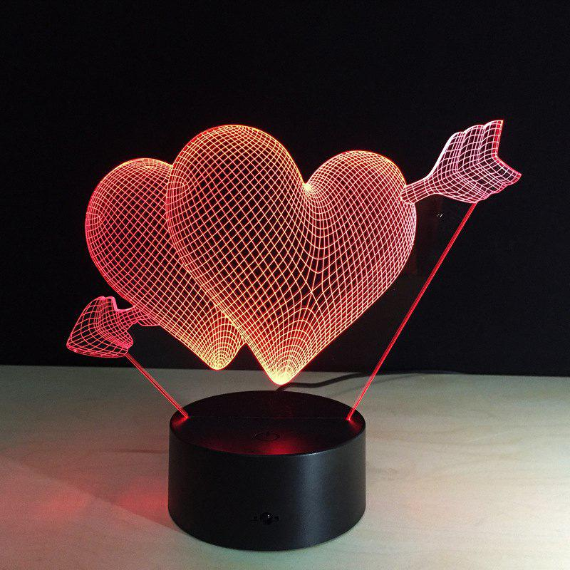 Yeduo 3D Led Night Light 7 Color Changing Piercing Heart Creative Remote Control Or Touch Switch Led Decorate Lamp As Gift creative 3d visual color changing led touching night light