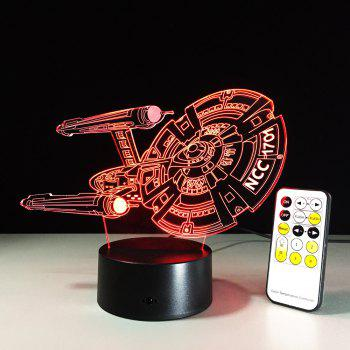 Yeduo 3D Battleship Spacecraft Led Illusion Mood Lamp Bedroom Table Lamp Night Light Bulbing Child Kids Friends Man Family Gifts - COLORMIX COLORMIX