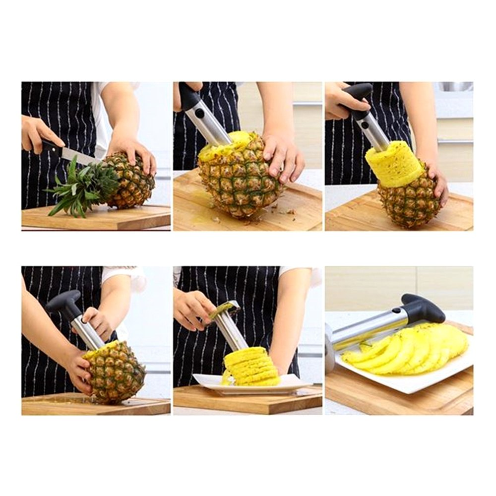 Domestic Stainless Steel Manual Operation Pineapple Peeler - SILVER/BLACK