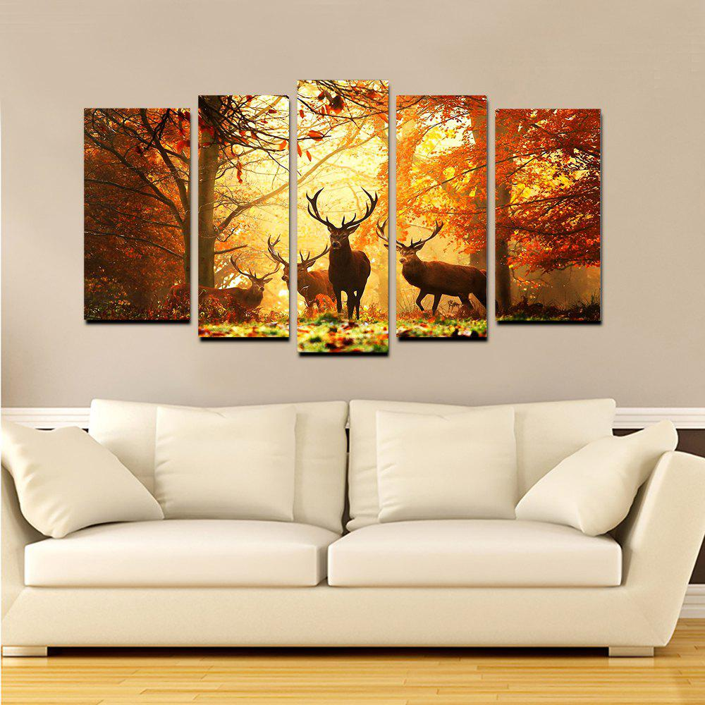 Yhhp Elk In The Antumn Forest picture Print Modern Wall Art On Canvas Unframed - ORANGE