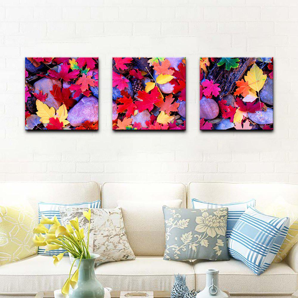 Yhhp Stretched Canvas Print Three Panels Canvas Wall Decor Home Decoration Abstract Modern Cobblestone Leaves - PLUM