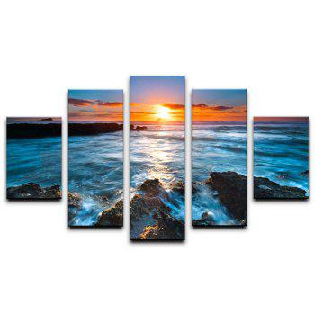 Yhhp Beautiful Scenery Rising Tide Setting Sun Beach Picture Print Modern Wall Art On Canvas Unframed - COLORMIX