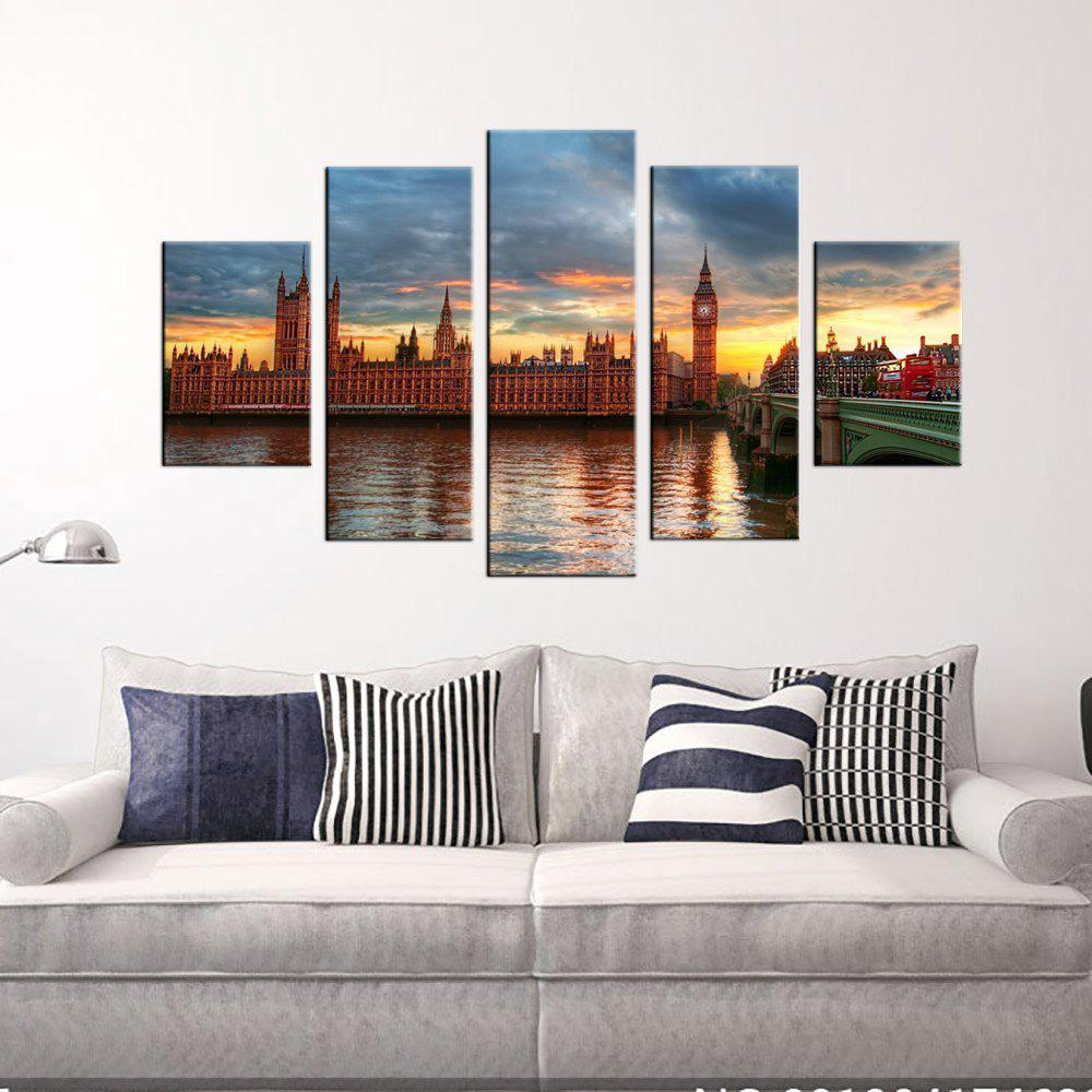 Yhhp British Architectural Landscape Picture Print Modern Wall Art On Canvas Unframed - COLORMIX