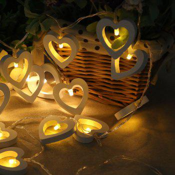 10-LED Christmastree Wooden Loving Heart String Lights Decorative Colored Lamp - WARM WHITE LIGHT