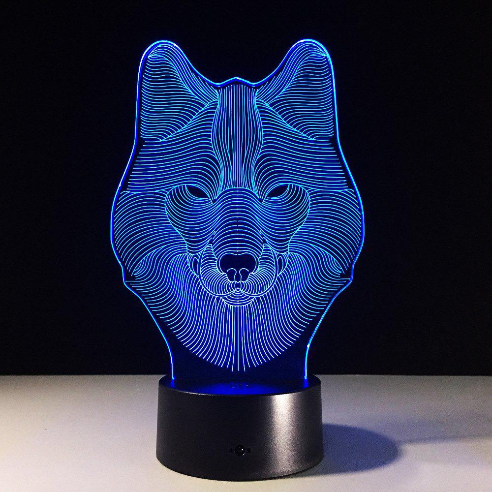 Yeduo Animal Wolf Decor 3D Led Nightlights Colorful Wolf Design Lampe de table Teen Wolf Illusion Lights Chambre Décor moderne - multicolorcolore