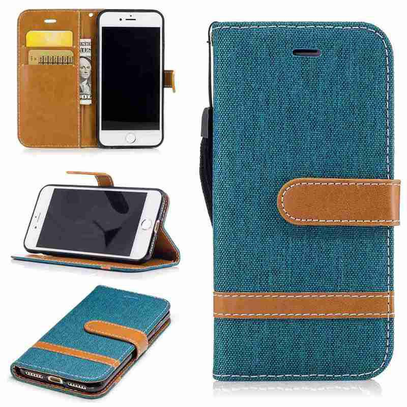 Фото Mixed Color Denim Pu Phone Case for iPhone 6 Plus/6S Plus gumai silky case for iphone 6 6s black
