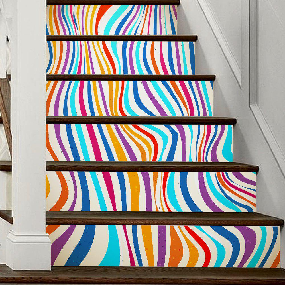 colorful Stripes Style Stair Sticker Wall Decor - MIX COLOR 18 X 100CM X 6 PIECES