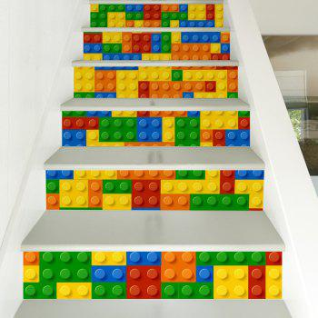 Building Blocks Style Stair Sticker Wall Decor - MIX COLOR 18 X 100CM X 6 PIECES