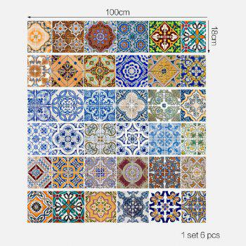 Ceramic Tiles Patterns Style Stair Sticker Wall Decor - MIXED COLOR 18 X 100CM X 6 PIECES