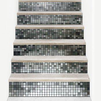Silver Mosaic Style Stair Sticker Wall Decor - 18 X 100CM X 6 PIECES 18 X 100CM X 6 PIECES