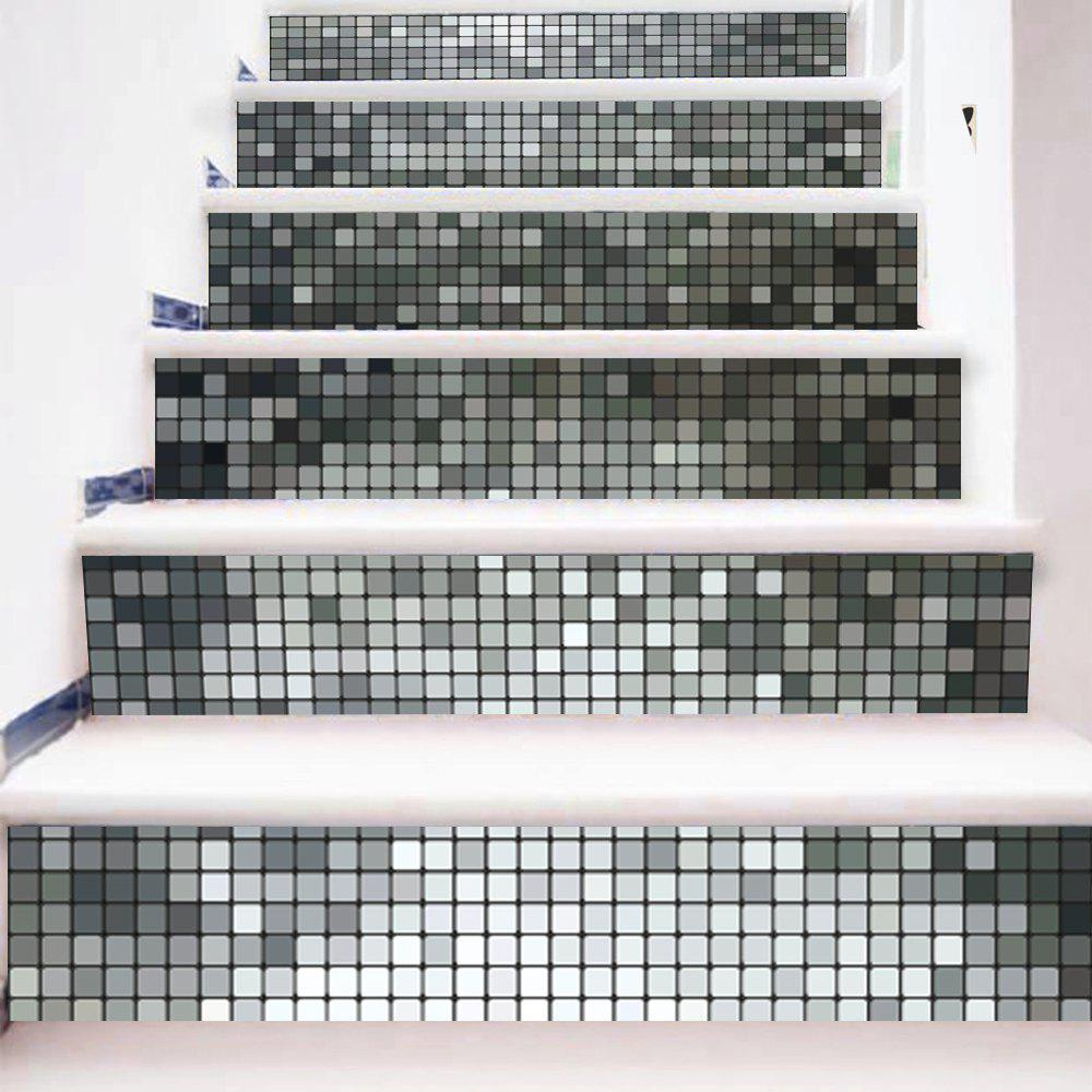 Silver Mosaic Style Stair Sticker Wall Deco - COULEUR MELANGER 18 X 100CM X 6 PIECES