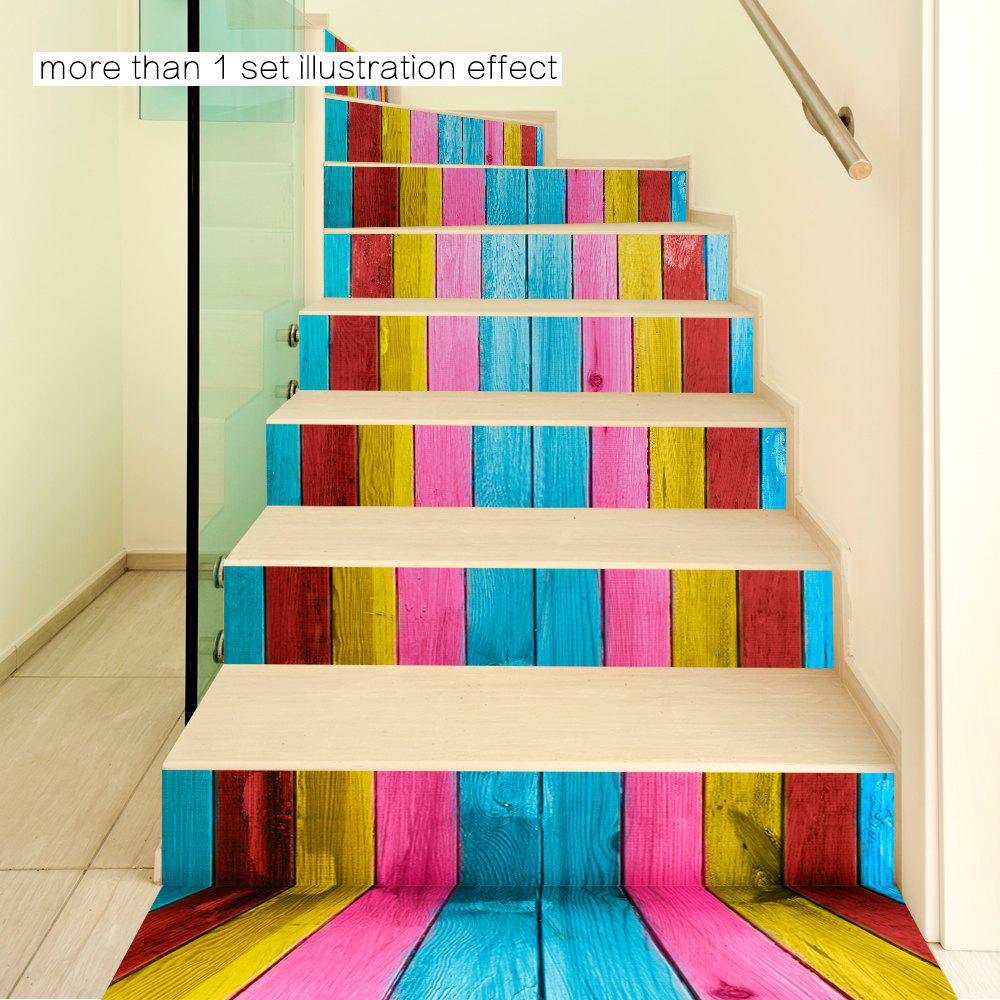 Colorful Wooden Style Stair Sticker Wall Decor - MIXED COLOR 18 X 100CM X 6 PIECES