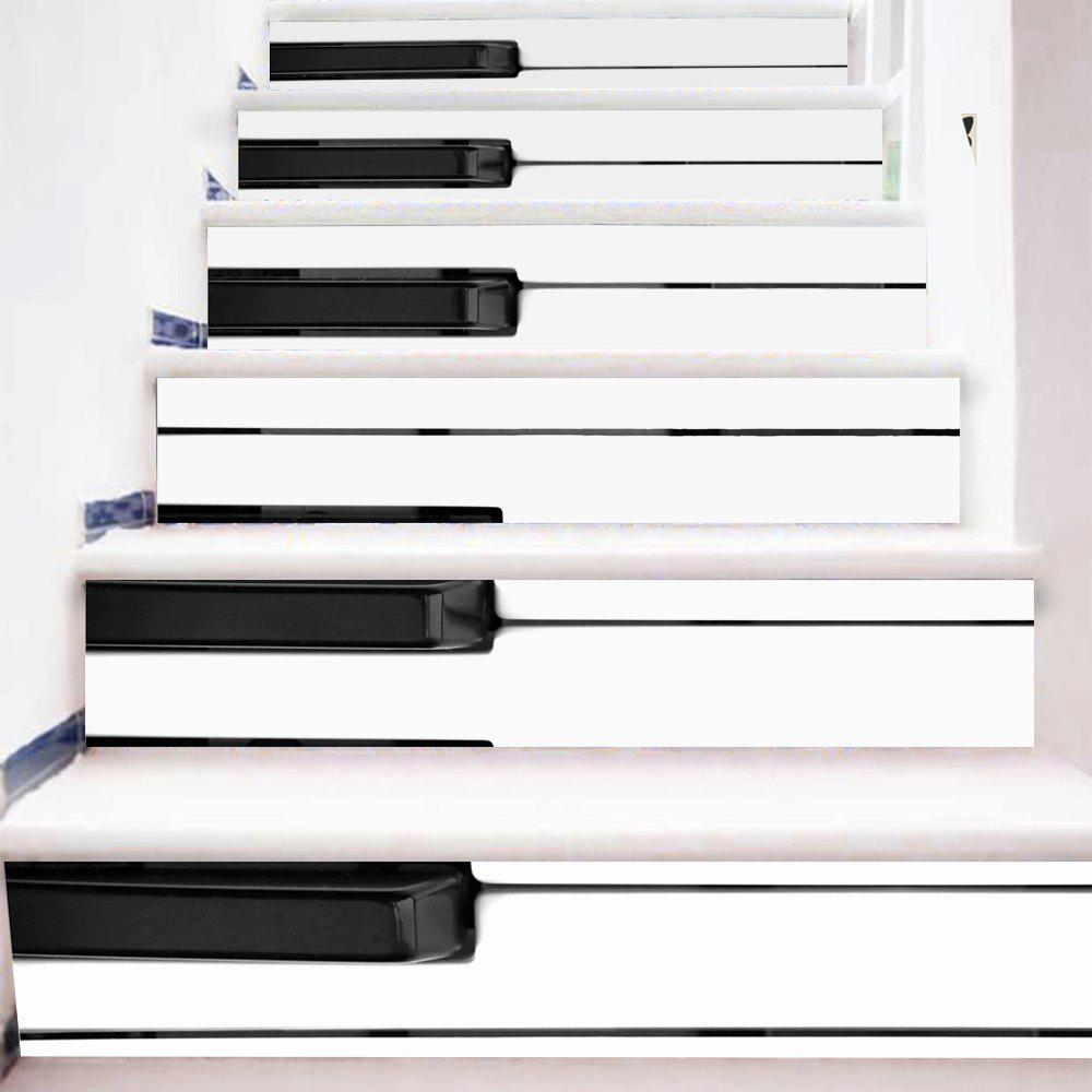 Piano Keys Style Stair Sticker Wall Decor - MIXED COLOR 18 X 100CM X 6 PIECES