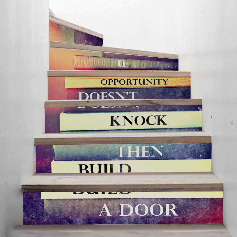 Inspirational Book Style Stair Sticker Wall Deco - COULEUR MELANGER 18 X 100CM X 6 PIECES