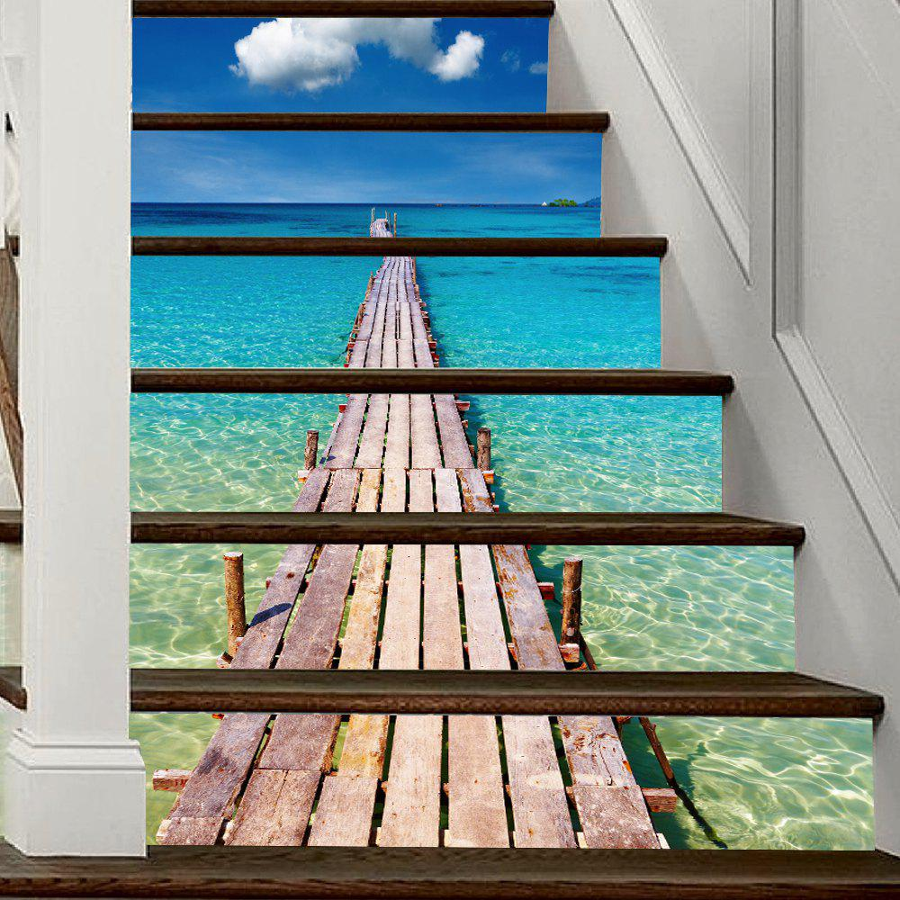 Beach Style Stair Sticker Wall Decor - MIX COLOR 18 X 100CM X 6 PIECES