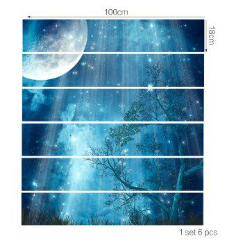 Moon Forest Stair Sticker Wall Deco - COULEUR MELANGER 18 X 100CM X 6 PIECES