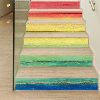 Rainbow Wooden Style Stair Sticker Wall Decor - MIX COLOR MIX COLOR