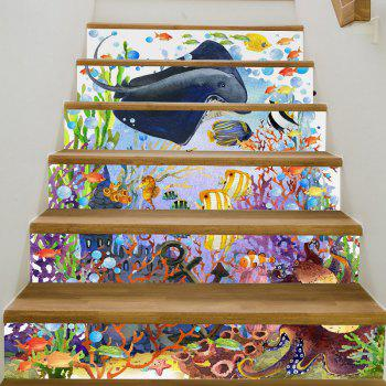 Underwater World Style Stair Sticker Wall Decor - MIXED COLOR 18 X 100CM X 6 PIECES