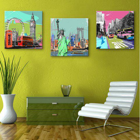 Dyy Frameless Paintings Famous Buildings of 3 - LIGHT BLUE 12 X 12 INCH (30CM X 30CM)