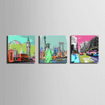 Dyy Frameless Paintings Famous Buildings of 3 - LIGHT BLUE 15 X 15 INCH (40CM X 40CM)