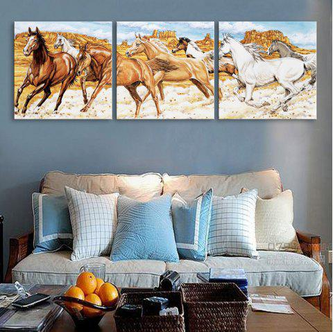Dyy Frameless Paintings Galloping Horse of 3 - BROWN/GOLD/GREY 20 X 20 INCH (50CM X 50CM)