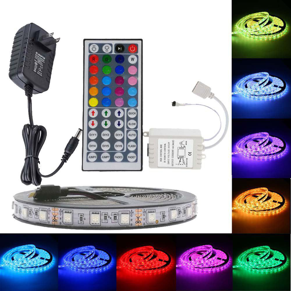SUPli 5M 5050 RGB 300 LEDs Strip Light with IR 44 Key Controller - RGB