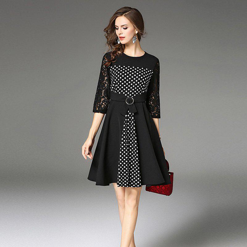 Autumn New Lace Retro Dress - BLACK XL
