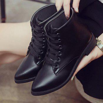 Solid Color Lace-Up Flat Ankle Boots - BLACK BLACK