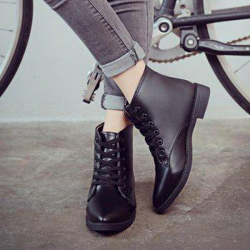 Solid Color Lace-Up Flat Ankle Boots - 37 37