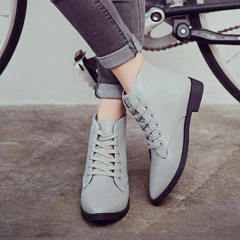 Solid Color Lace-Up Flat Ankle Boots - 40 40