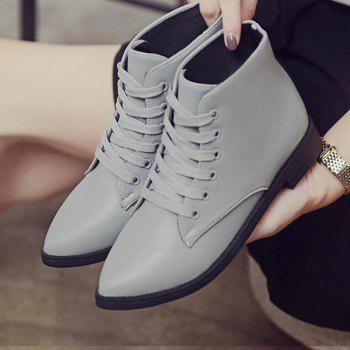 Solid Color Lace-Up Flat Ankle Boots - 38 38