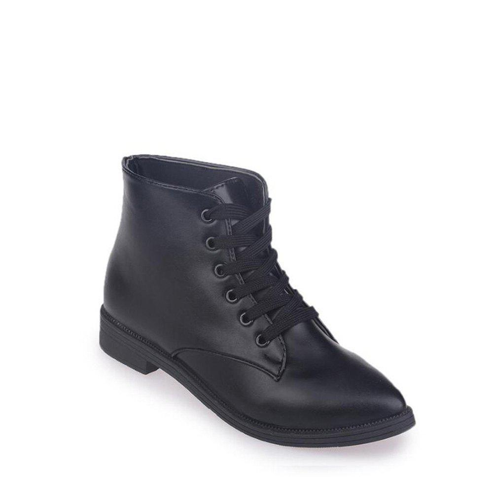 Solid Color Lace-Up Flat Ankle Boots - BLACK 36
