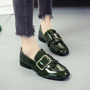 Retro Buckle Tassels Flat Shoes - FERN 36