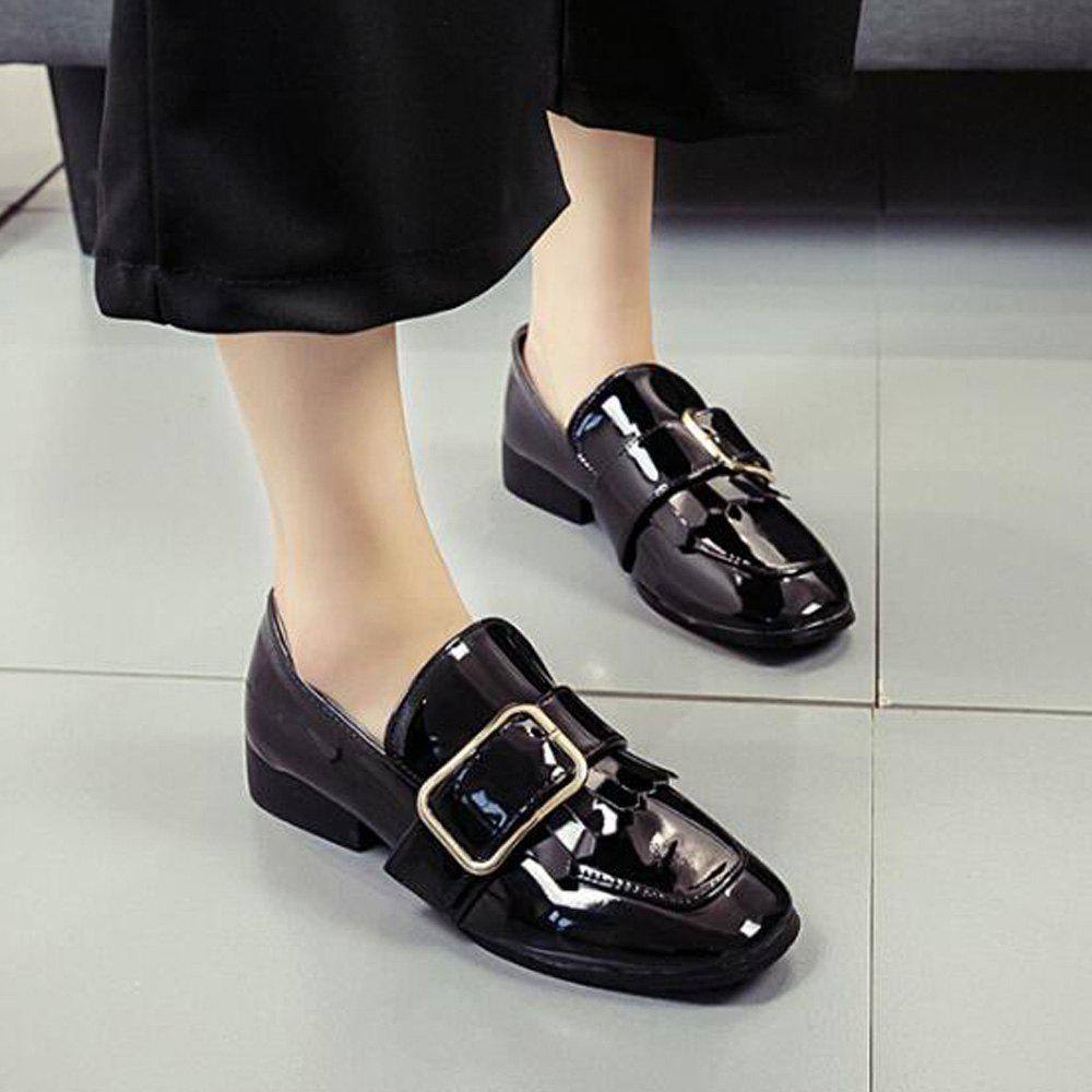 Retro Buckle Tassels Flat Shoes - BLACK 36