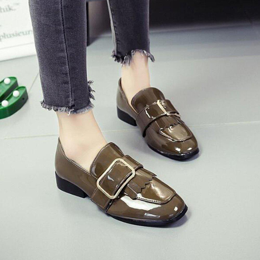 Retro Buckle Tassels Flat Shoes - KHAKI 35