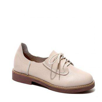 Solid Color Lace-Up  Flat Oxford Shoes - BEIGE 35