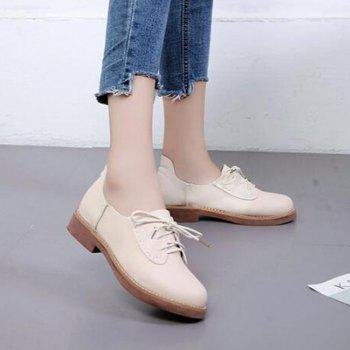 Solid Color Lace-Up  Flat Oxford Shoes - 35 35